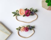 Mother daughter crowns, sibling headbands, mother daughter headbands, floral sibling headband, floral halo, photo prop, mommy and me crowns