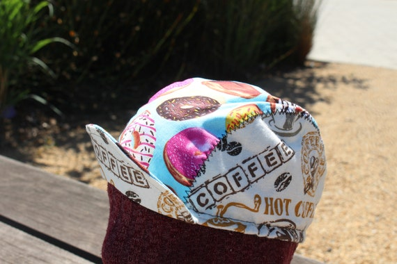 CYCLING CAP COFFE  /& DONUTS  100/% COTTON HANDMADE IN USA M L