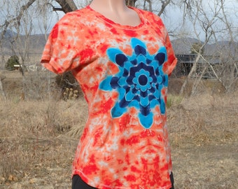 Double Mandala Tie Dye Cotton Tee Shirt Large