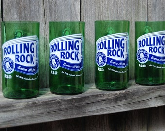 Set of 2 upcycled Rolling Rock glasses