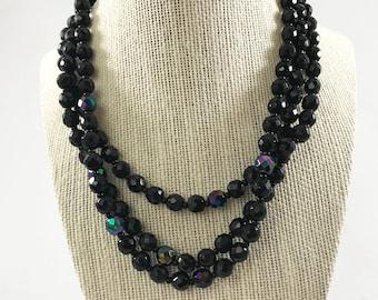 Costume Jewelry- Vintage Black Iridescent Beaded Multi Strand Adjustable Necklace