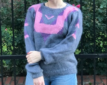 ee7e2aa7c0 Vintage Soft Grey and Pink Oversized Sweater