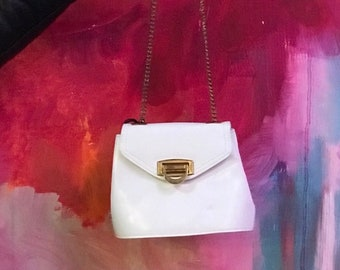 9e585b5203d3 Vintage Bag- Vintage White Crossbody Bag with Gold Flip Lock Hardware and  Long Chain Strap