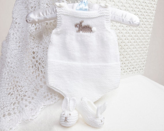 Pdf Knitting Pattern Premature Baby Romper and Bunny Slippers  7c0d19cef