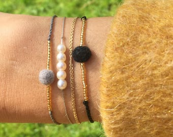 Pompon Bracelet - Curies Shell Bracelet - Mini Shell Bracelet - Gift Idea XS - Hand-woven bracelet - Beach Bracelet - Lilie - Koh