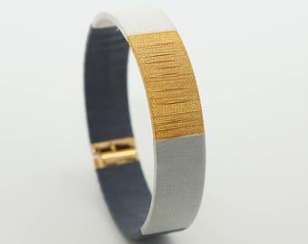 Jonc Friendship Bracelet - Mom's Gift Idea - Mother Girl Gift - Black Jonc Bracelet - Grey Jonc Bracelet - Hand woven Jonc - Lilie - Koh