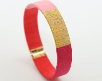 Pink Bracelet - Pink Cuff Bracelet - Minimalist Rose Jewelry - Boho Gift Idea - Colorful Gift - Mom's Gift - Lilie - Koh