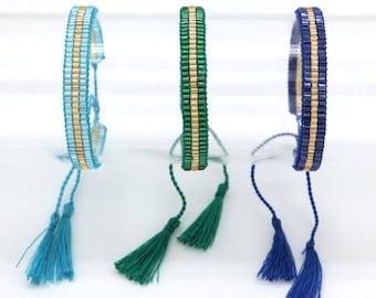 Miyuki bracelet - Tassel Bracelet - Bracelet Turquoise beads - green Beads Bracelet - cuff woven hand - Mini Miyuki - Lily & Koh