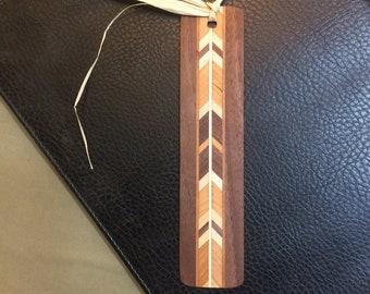 Handmade Wooden Bookmark W/Herringbone Accent