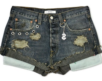 Black Shorts High waist Floral patches custom vintage denim patched jean summer festival style W28 S
