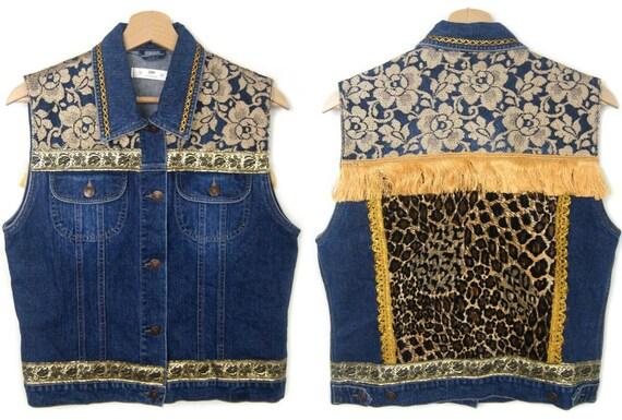 gypsy GOLDEN Boho festival denim jacket hippie leopard size Southwestern Embellished M ethnic Bohemian VEST aaPBnr