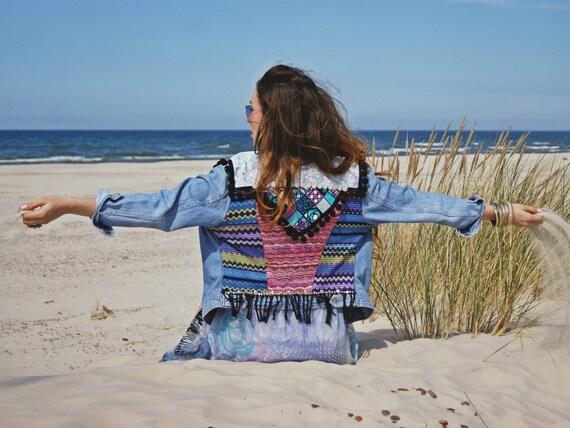 pompons jacket Bohemian denim jacket jacket Boho gypsy hippie Southwestern ethnic aztec festival jacket lace xq0XdwwUn6