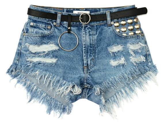 cut off Super W30 studded shorts vintage blue Belted jeans chain waisted Medium customized High frayed M denim q7Own68g