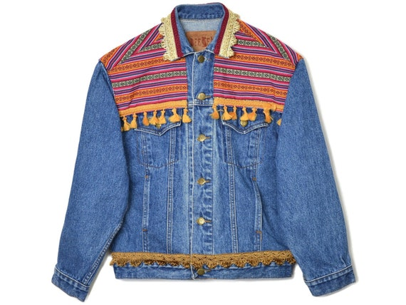 festival Embellished coat denim jacket ethnic Southwestern Bohemian hippie custom L M Boho gypsy aztec xZZgUrqw0