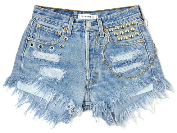 S shorts waisted denim Super Levi's blue cutoffs studded vintage classic 501 frayed W28 chain customized High Small Sngnxq45Fw