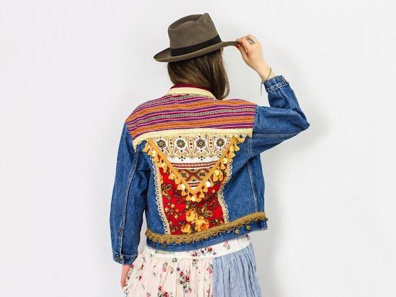 Southwestern M Embellished hippie coat aztec gypsy festival custom ethnic Bohemian jacket L denim Boho aprqY7a