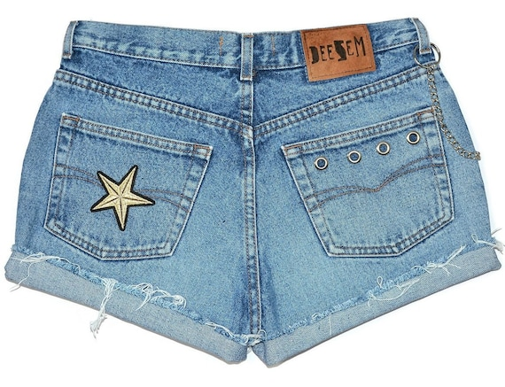 W31 rock star skull L Customized waisted shorts Lee distressed Large cutoffs Jeans destroyed patch vintage High keychain Oz6Rz4