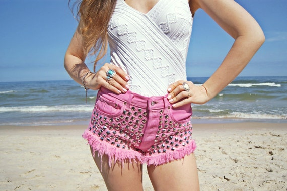 regular L jeans High 31 dyed hippie vintage heather denim Levis pink waisted STUDDED off size waist PINK hand SHORTS 501 shorts cut studded qWOH6