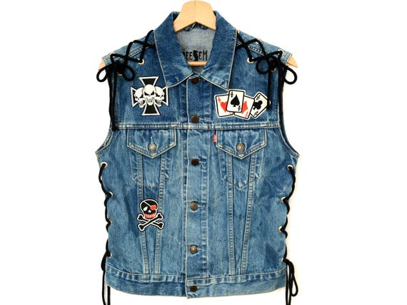 Lose M customized Win Born UP jean Live Vest biker To Patched wash jacket custom Medium Rocker to acid skull Motorcycle LACE Denim Levis wCqRqf15