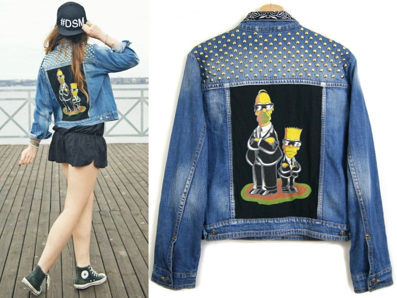 Di Con Simpsons Oversize Il PatchEtsy Giacca Jeans jL435AR
