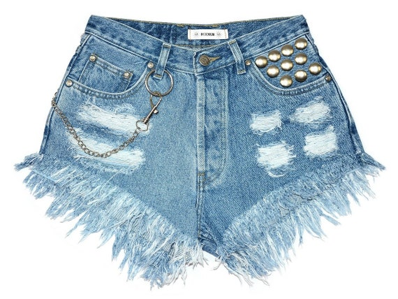 chain cut rock studded frayed Super W27 waisted Small off High blue denim S jeans style shorts festival vintage Punk's IqZwPXx