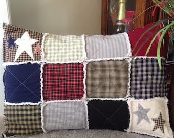 Western Pillow, Rustic Pillow Cover, 18x24, Primitive Country Pillow, Homespun Pillow, Farmhouse Pillow, Pillow Sham, Quilted Pillow Cover