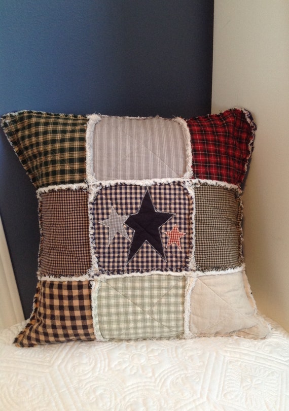 Farmhouse Style Pillow Quilted Pillow Cover Primitive Etsy Delectable Primitive Pillow Covers