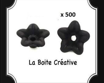 500 beads in shape of flower in acrylic black mat 10 x 4 mm
