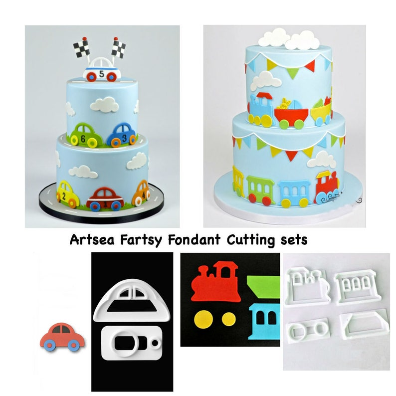 Cars Train Fondant Cutter Set cake decorating tool mold sugarcraft car cake  topper birthday baby shower