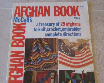 McCall's Afghan Book Vol. 2, 1975 Edition, For Knit, Crochet & Embroidery