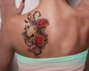7b34f2e95 Floral Skull Temporary Tattoo-Colorful Skull Temporary Tattoo- Steampunk Temporary  Tattoo -Boho Temporary Tattoo-Flowery Tattoos