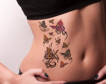 966412cb6be0d Tribal Butterfly Temporary Tattoo-Colorful Temporary Tattoo With  Butterflies Temporary Tattoo -Trendy Temporary Tattoo
