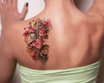 a76f2aebc Skull And Pink Flowers Temporary Tattoo-Colorful Skull Temporary Tattoo-  Steampunk Temporary Tattoo -Boho Temporary Tattoo-Flowery Tattoos