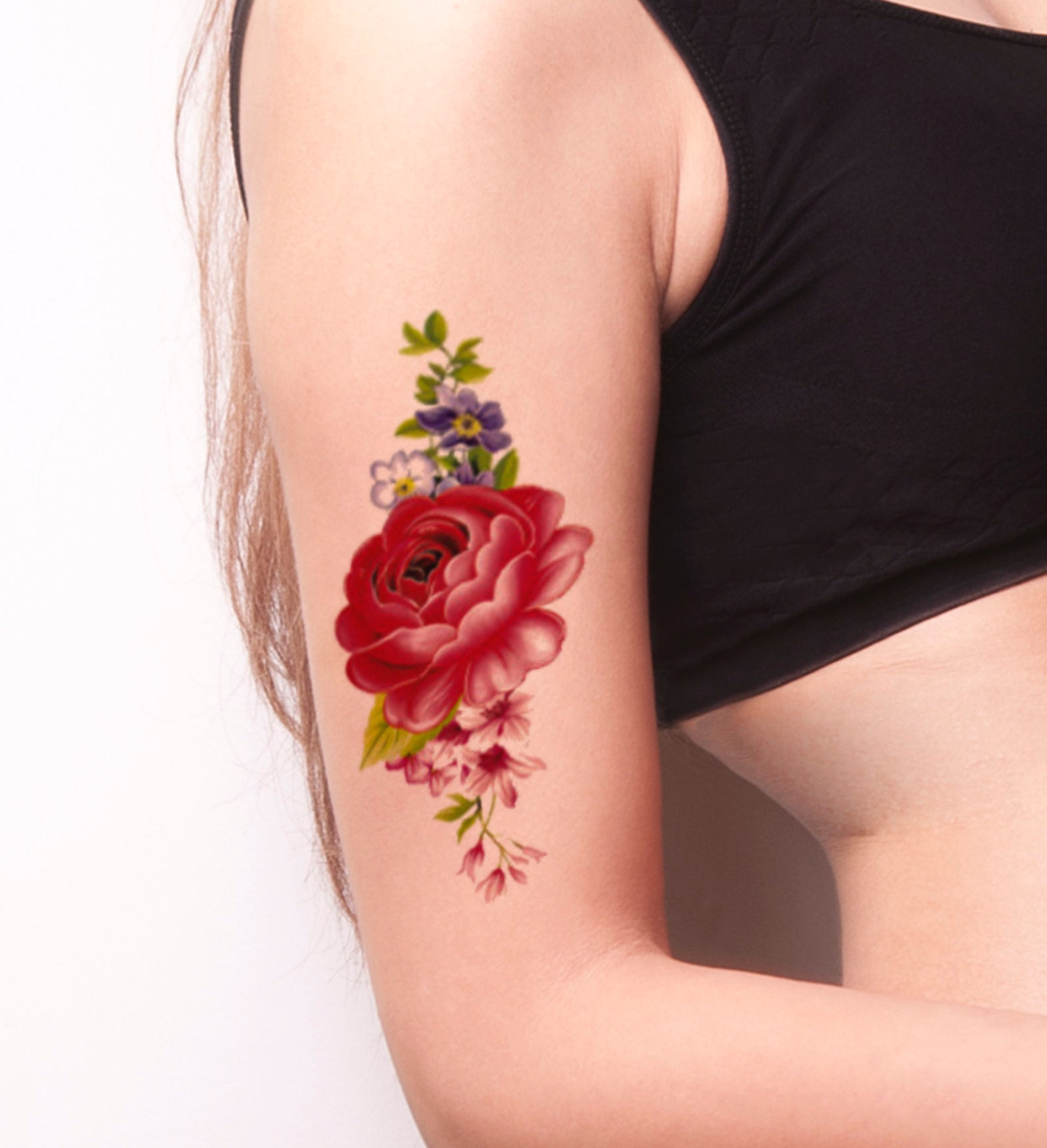 Large Pink Flower Temporary Tattoo Colorful Temporary Tattoo Etsy