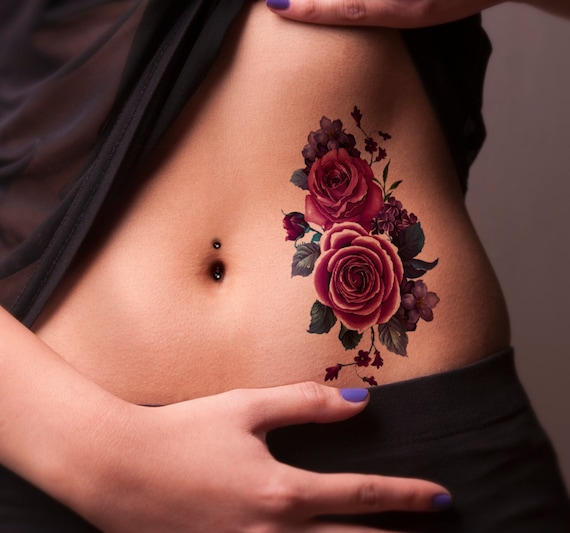 Pink Rose Purple Flower Temporary Tattoo Colorful Temporary Etsy
