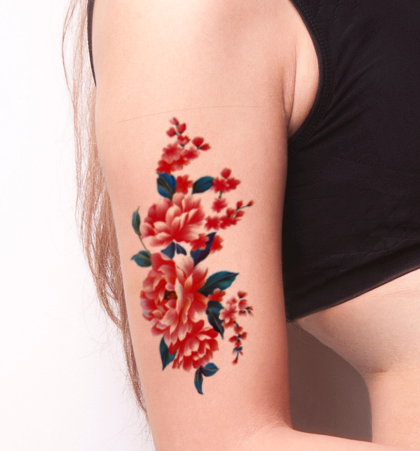 Coral Pink Flower Temporary Tattoo Colorful Temporary Tattoo Etsy