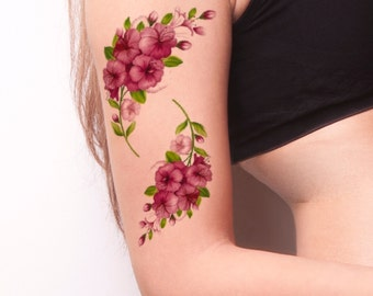 Pink Double Floral Temporary Tattoo-Colorful Temporary Tattoo- Flower Temporary Tattoo -Boho Temporary Tattoo-Flower Tattoos-Flower Body Art