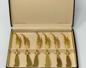 Janis Collection Set of 6, 24 K Gold Plated Feather Spreaders