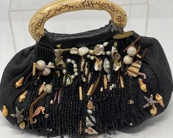 Mary Frances Black Handbag, Beaded Shell Evening Bag, Designer Handbag