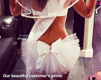 Bride to be Booty Veil, Sash. Hair Veil Purchase ind. or as a 3 piece Day/Night Set. Bachelorette Party, Bride To Be by CYA Bikini Veils