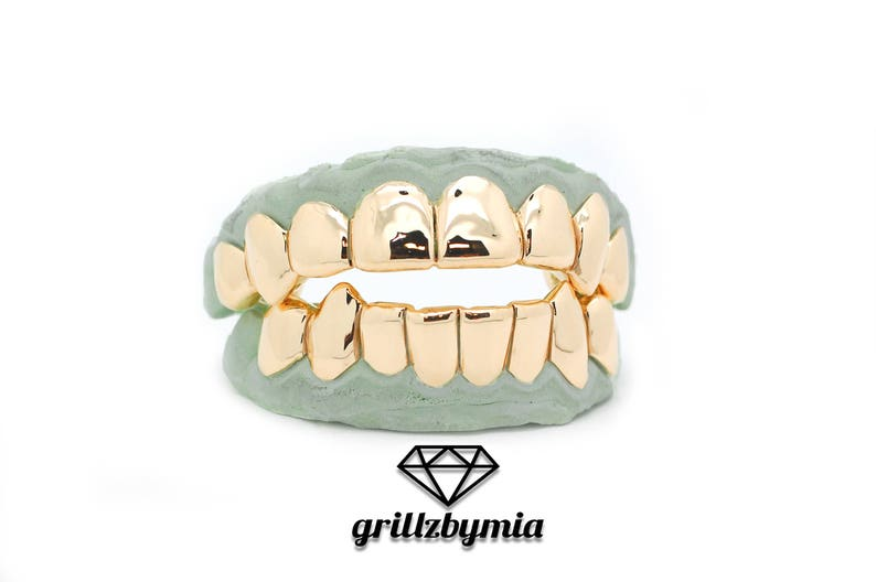 Custom 10k Gold Grillz 8 Piece Perm Style Deep Cuts 14k Gold Plated Silver  Grill