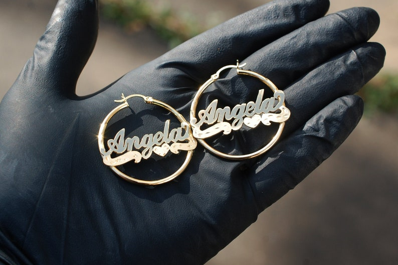 98c1a8ae6a83b Custom Name 10K Yellow Gold Custom Personalized Cursive Nameplate Hoop  Earrings *ANY NAME* Gold Nameplate Monogram Name Earrings