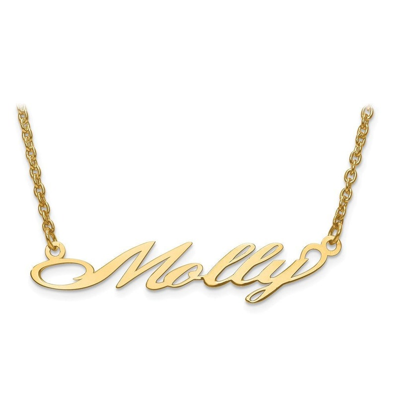 1d0022682e064 10K Yellow Gold Custom Personalized Cursive Nameplate Pendant with Chain  *ANY NAME* Gold Nameplate Monogram Name Necklace