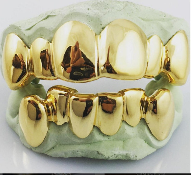 Custom 6 Top 6 Bottom 10K Gold Grillz Solid