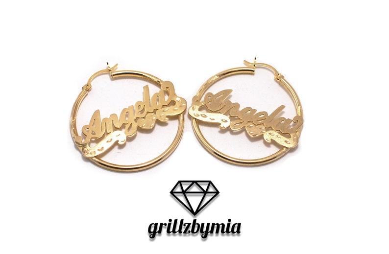 d4d3bf295542f 10K Yellow Gold Custom Personalized Cursive Nameplate Hoop Earrings *ANY  NAME* Gold Nameplate Monogram Name Earrings