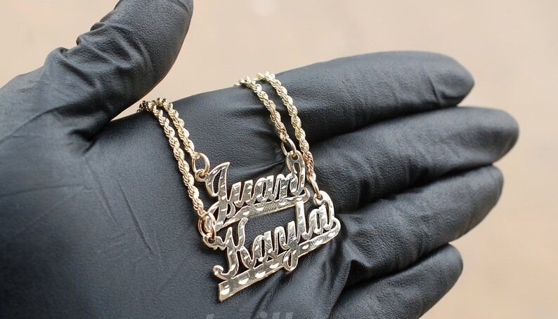 b8eaa7e06f175 10K Yellow Gold Custom Personalized Cursive Nameplate Pendant with Rope  Chain *ANY NAME* Gold Nameplate Monogram Name Necklace