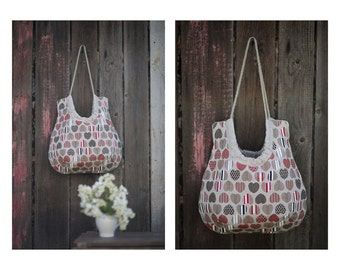 Valentine's day gift. Strong linen canvas tote bag with hearts, beach bag