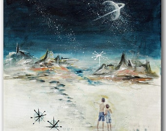Original Midcentury modern abstract art, retro space art, midcentury cosmic art, modern retro