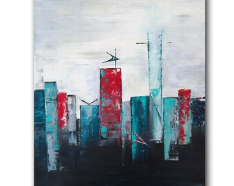 Mid-century modern skyline art print, midcentury skyline, midcentury cityscape abstract art modern retro skyline cityscape wall art