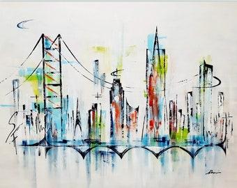 San Francisco art, San Francisco skyline, Golden gate bridge art, San Francisco city cityscape, San Francisco abstract